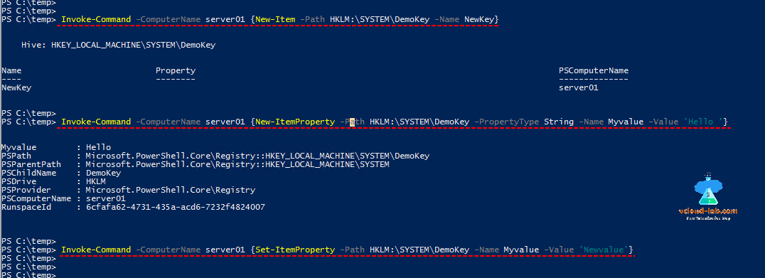 Microsoft windows powershell, invoke-command new-item new-itemproperty, set-itemproperty, itemtype, propertytype, my value, remote registry, modify new reg key
