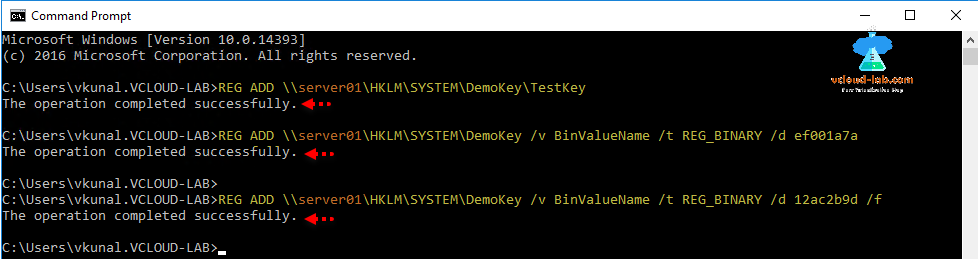 Windows Powershell command prompt cmd, remote registry, reg add, reg query, reg delete
