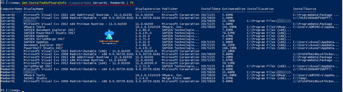 powershell remote registry get information of software remote applications remote softwares