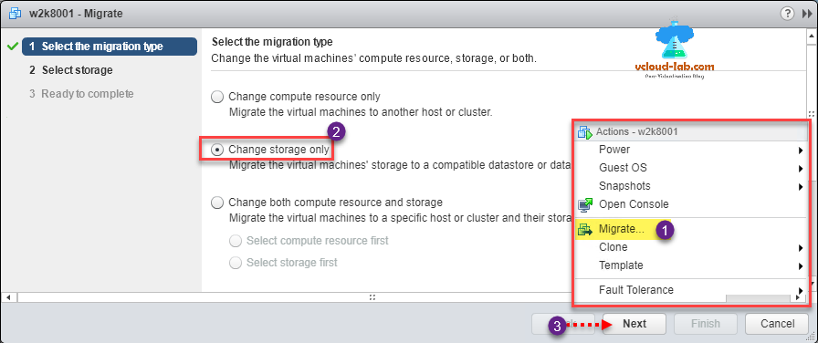 vmware vsphere esxi migrate storage vmotion, change storage, convert RDM to raw device mapping easy way, raw lun, migrate type