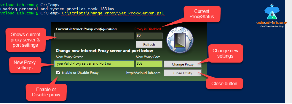 microsoft powershell wpf forms change internet proxy settings, connection tab enable hack, powershell hack, registry