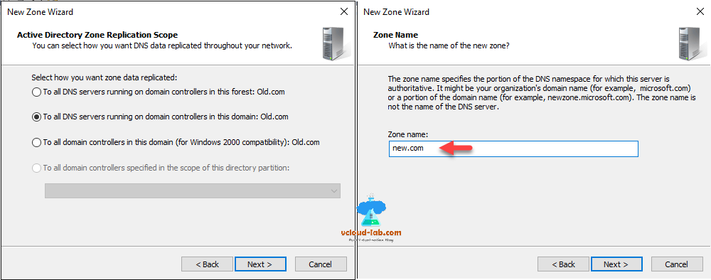 dns manager new zone wizard active directory zone replication scope, dns servers running on domain controllersj in domain and forest, zone name.png