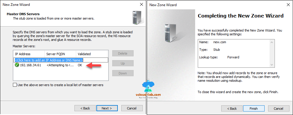 dns server master dns servers stub zone, completing the new zone wizard cross domain admins rights