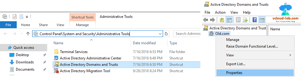 Active directory domains and trusts, administrative tools, adding trust properties adding cross domain admins in active directory