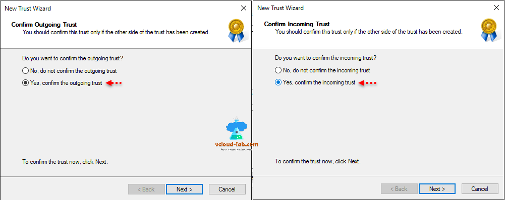 Active directory domain and trusts new trust wizard outgoing trust cross domain trust domain admin rights
