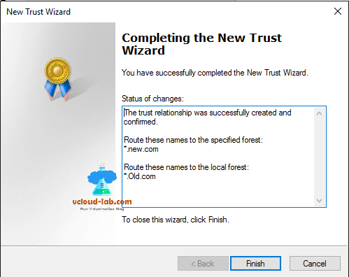 active directory new trust wizard, route names to specified forest, cross domain forest admin rights.png