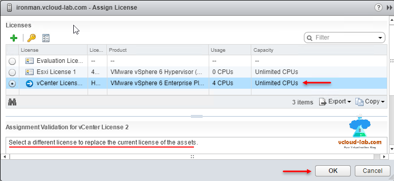 vmware vsphere web client assign license evaluation license vcenter and esxi license assignement validation assets, disconnected esxi hosts.png