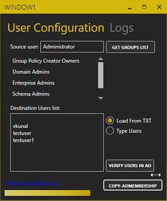 copy user membership from one user properties to another wpf gui powershell mahapps.metro