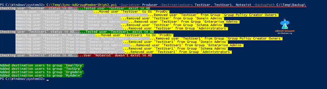Powershell ActiveDirectory ad group membership, sync membership get-aduser, add-adgroupmember, move-adobject, remove-adgroupmember, get-adobject identity, ou, move user.png