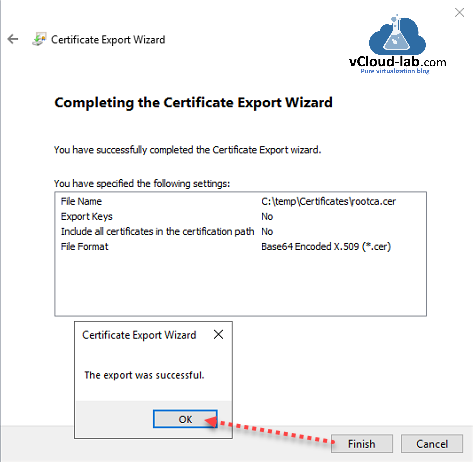 vmware vsphere vcenter appliance certificate authority vcsa vmca certificate export wizard  completing the certificate export wizard .cer microsoft rootca intermidiate subordinate ca certificate authority.png
