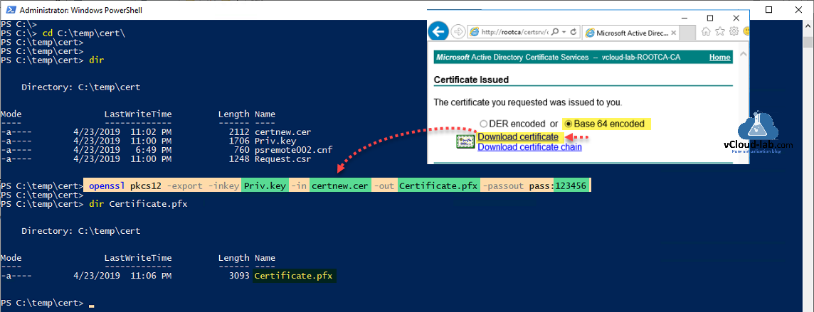 Microsoft Windows Powershell certificate openssl pkcs12 export inkey private key pfx passout replacing powershell remoting winrm wsman ssl https certificate thumbhash ca signed self cert.png