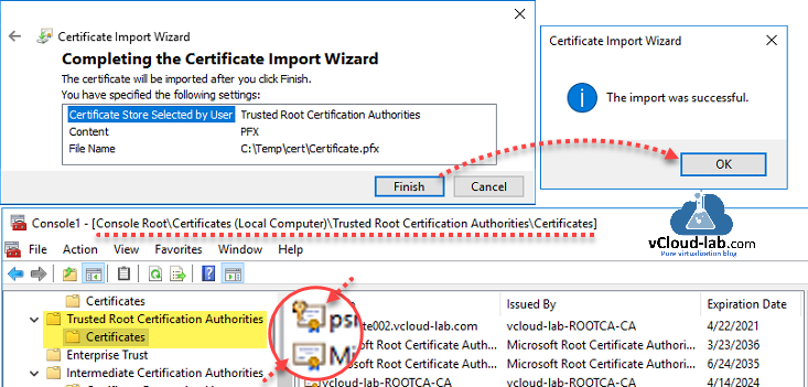 Powershell certificate local computer trusted root certification authorities, root ca subordinate ca, microsoft powershell remoting replace https ssl port 5986 import-pfxcertificate testing security.png