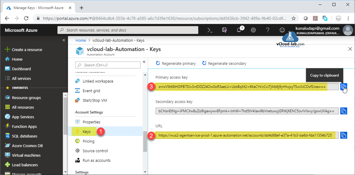 Microsoft Azure automation account dsc desired state configuration agentservice-prod1.azure-automation.net Account settings Keys Primary secondary access key regenerate powershell dsc state configuration.png