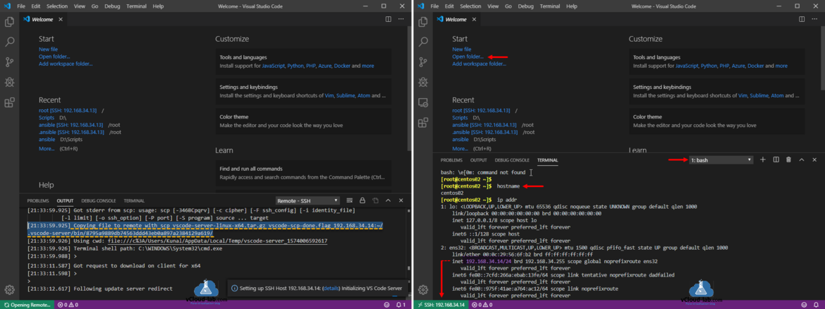 visual studio code microsoft remote ssh extension copying file to remote with scp vscode-server-linux-x64.tar.gz download client connection successfull wget setup ssh host.png