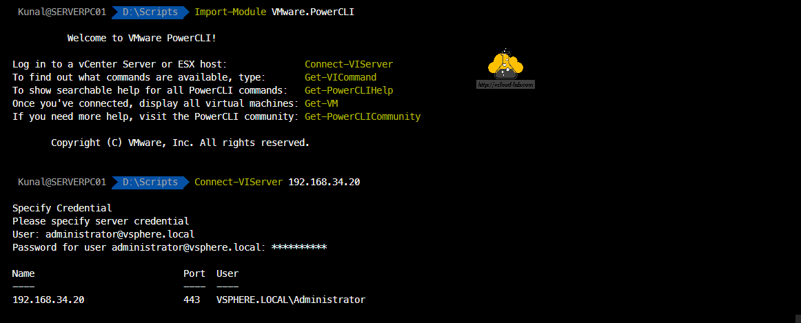 vmware vSphere powercli powershell module vmware.powercli Import-Module Connect-VIServer Administrator@vsphere.local credential vcenter esxi vcsa datastore storage automation.png