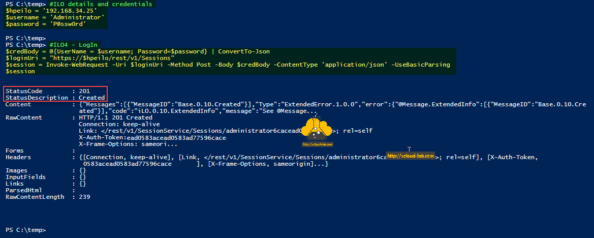 Microsoft Powershell HPE ILO Rest API Invoke-restmethod Invoke-WebRequest method post get body credentialos header json api authorization credentials example curl.png